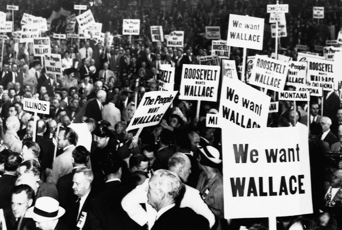 At the 1944 Democratic National Convention, delegates show support for the current Vice-President, Henry A. Wallace (Getty Images)