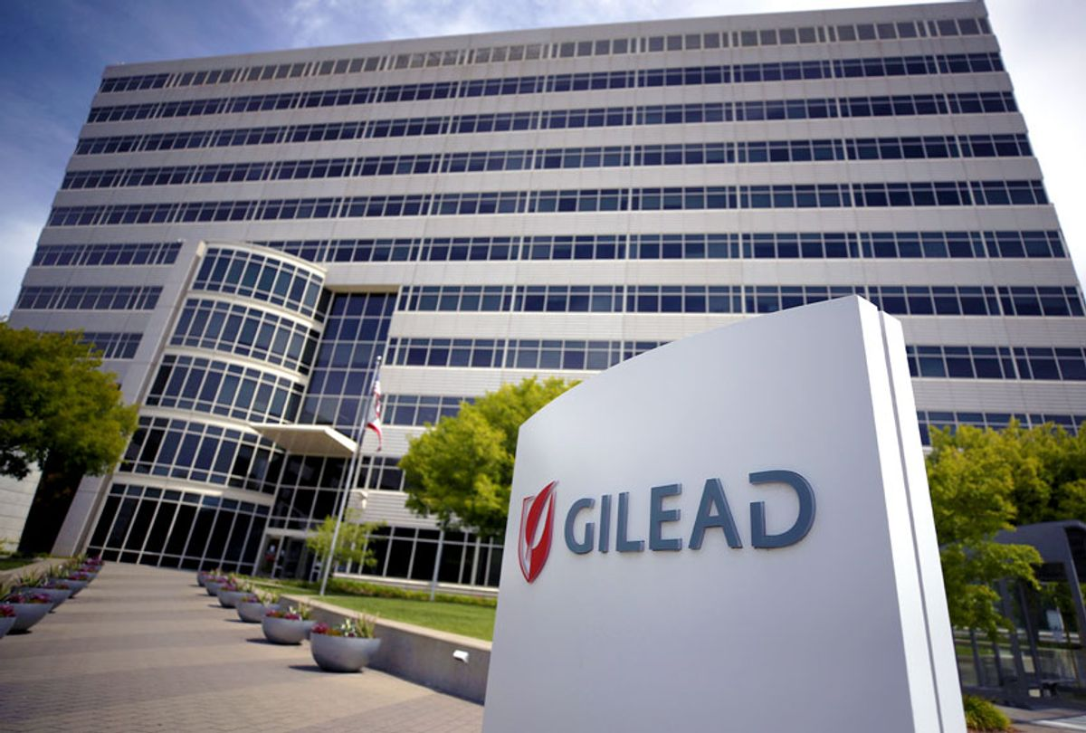 A sign is posted in front of the Gilead Sciences headquarters on April 29, 2020, in Foster City, California. Gilead Sciences announced preliminary results of a drug trial with that showed at least 50% of patients with coronavirus that treated with a five-day dosage of Remdesivir improved and more than half were released from the hospital within two weeks. (Justin Sullivan/Getty Images)