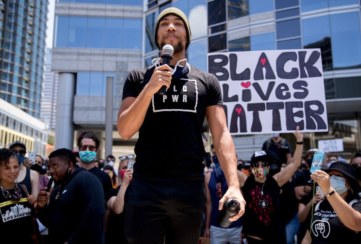 Actor Kendrick Sampson speaking at a Black Lives Matter protest (Rich Fury/Getty Images)