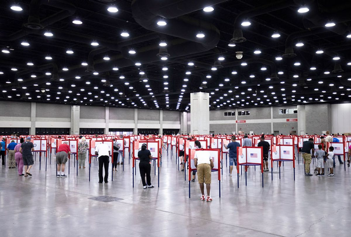 General view of voters during Tuesdays Kentucky primary election on June 23, 2020 in Louisville, Kentucky. The Kentucky Exposition Center is the only polling location for Tuesday's Kentucky primary in Jefferson County, home to Louisville and 767,000 residents. (Brett Carlsen/Getty Images)