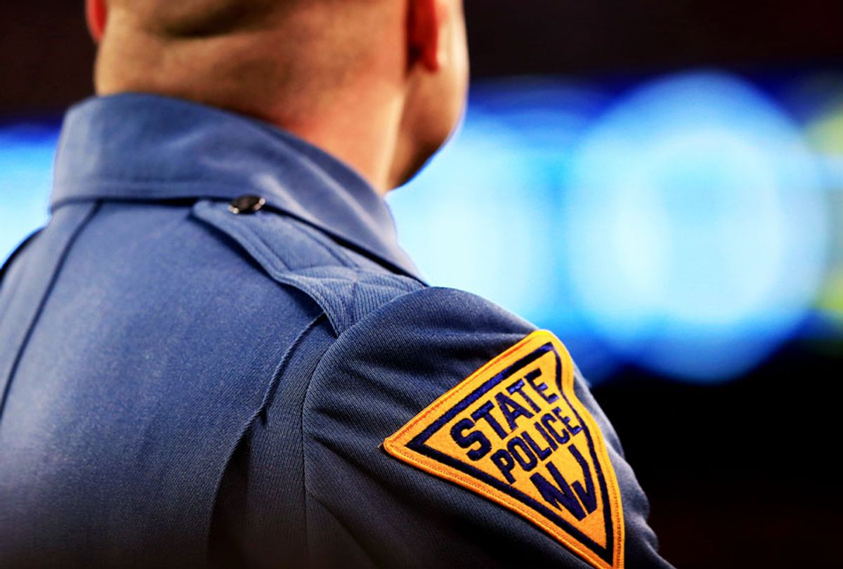 A New Jersey State Police trooper (Jamie Squire/Getty Images)