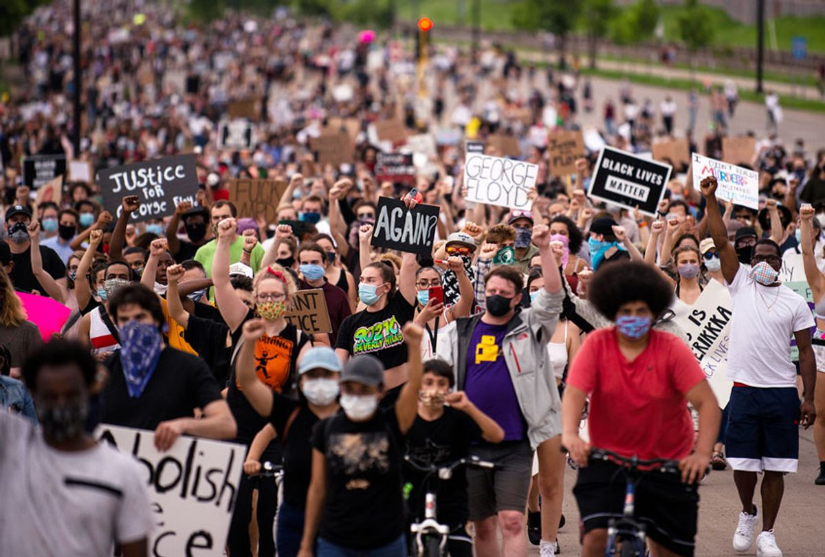 Protesters march on Hiawatha Avenue while decrying the killing of George Floyd on May 26, 2020 in Minneapolis, Minnesota (Stephen Maturen/Getty Images)