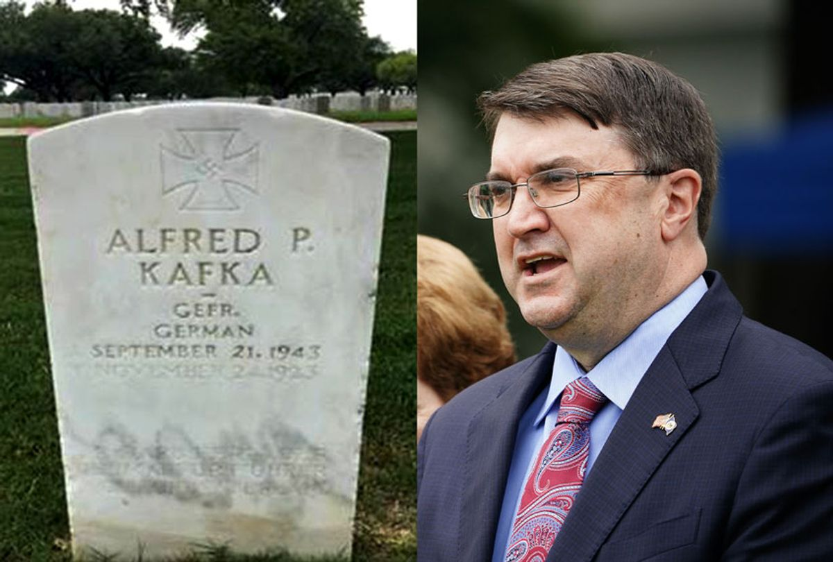 German POW gravestone in a Texas V.A. cemetery | US Veterans Affairs Secretary Robert Wilkie (MANDEL NGAN/AFP via Getty Images/The Military Religious Freedom Foundation/Salon)