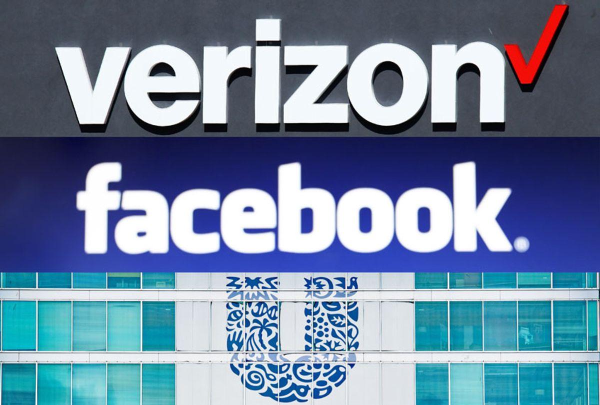 Verizon, Facebook and Unilever (Getty Images/Salon)