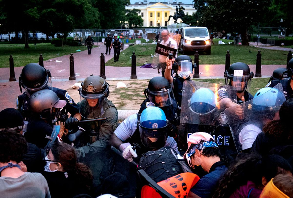 Protesters clash with U.S. Park Police after attempting to pull down the statue of Andrew Jackson in Lafayette Square near the White House on June 22, 2020 in Washington, DC. Protests continue around the country over police brutality, racial injustice and the deaths of African Americans while in police custody. (Drew Angerer/Getty Images)