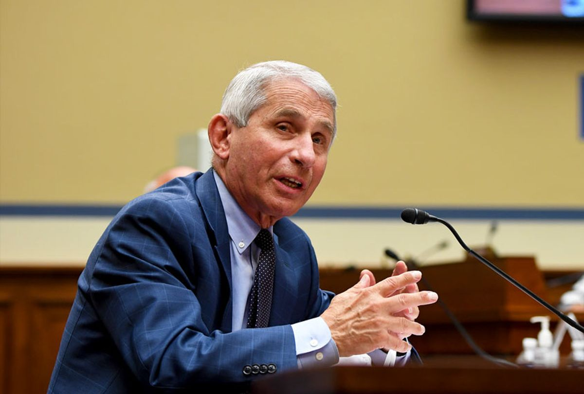 Dr. Anthony Fauci, director of the National Institute for Allergy and Infectious Diseases, testifies before a House Subcommittee on the Coronavirus Crisis hearing on July 31, 2020 in Washington, DC. Trump administration officials are set to defend the federal government's response to the coronavirus crisis at the hearing hosted by a House panel calling for a national plan to contain the virus. (Kevin Dietsch-Pool/Getty Images)