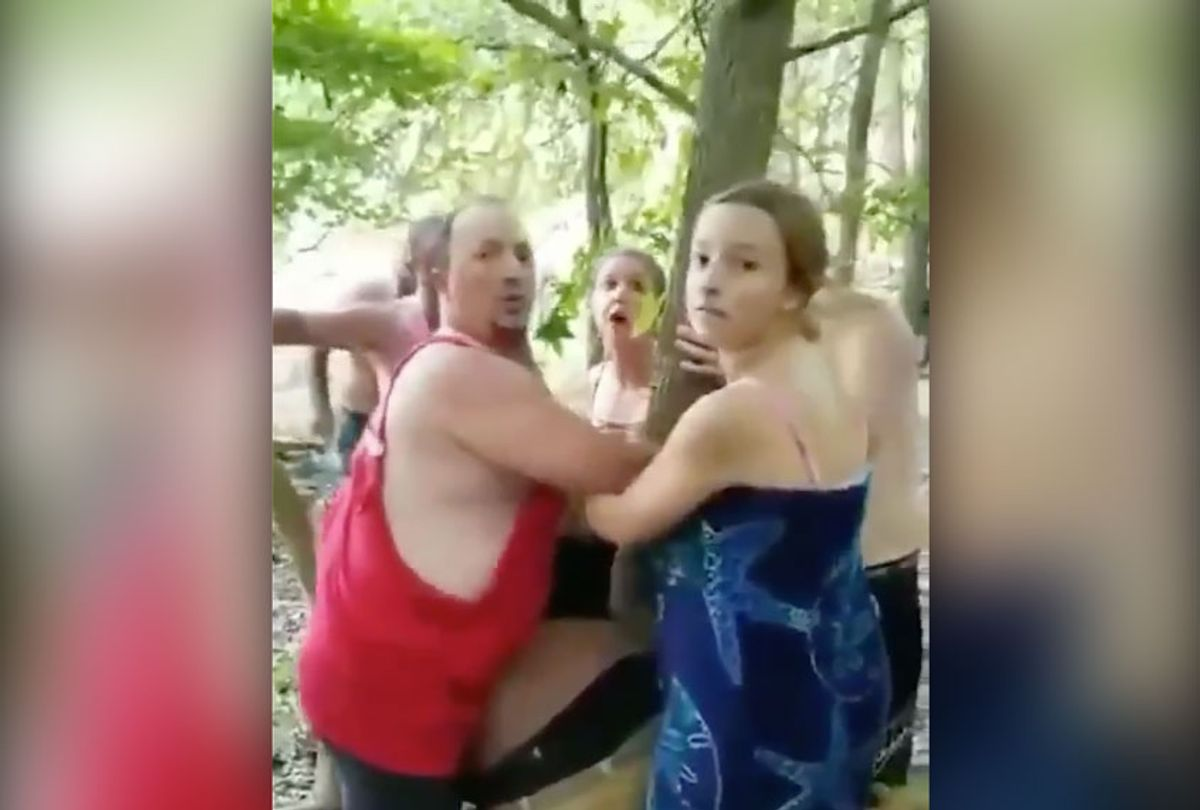 Vauhxx Booker, a prominent civil rights activist in Bloomington, IN, was assaulted, pinned to a tree and threatened with a noose (Twitter/@AttorneyCrump)