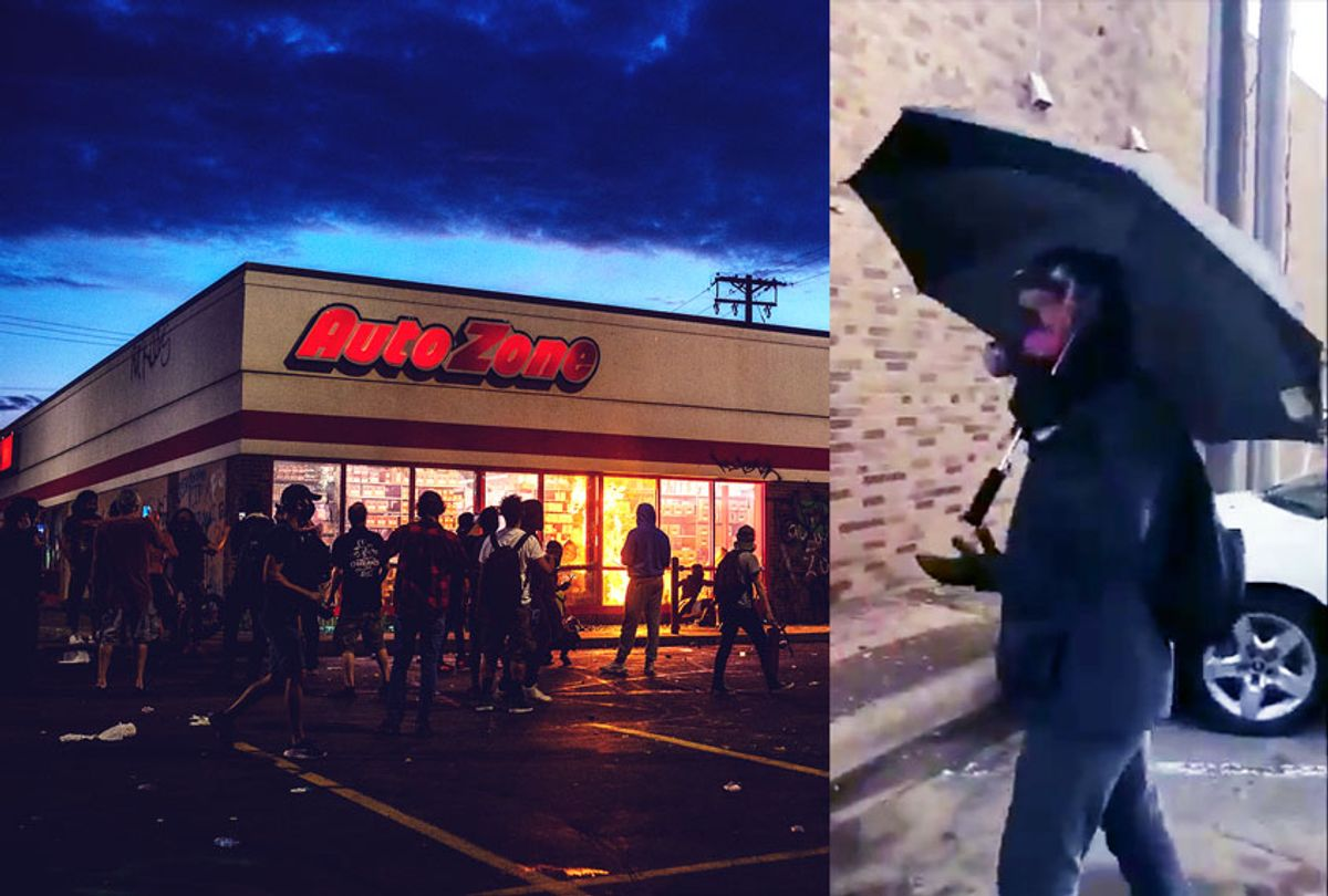 """""""Umbrella man"""" sought to invoke violence by smashing windows at an Auto Zone (which was later burnt down) during the George Floyd protests on May 27, 2020 in Minneapolis, Minnesota (Getty Images/Twitter/Salon)"""