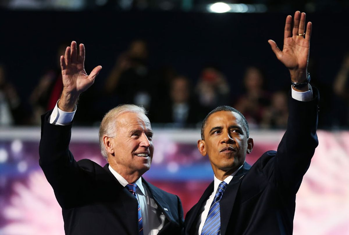 This 2012 photo shows then Democratic presidential candidate, U.S. President Barack Obama (R) and Democratic vice presidential candidate, U.S. Vice President Joe Biden wave after accepting the nomination during the final day of the Democratic National Convention at Time Warner Cable Arena in Charlotte, North Carolina.  (Tom Pennington/Getty Images)