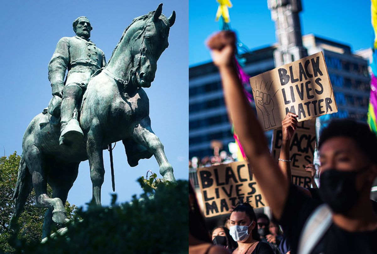 The statue of Confederate Gen. Robert E. Lee stands in the center of the renamed Emancipation Park in Charlottesville, Virginia | Protesters raise their fists during a Black Lives Matter demonstration (Getty Images/Salon)