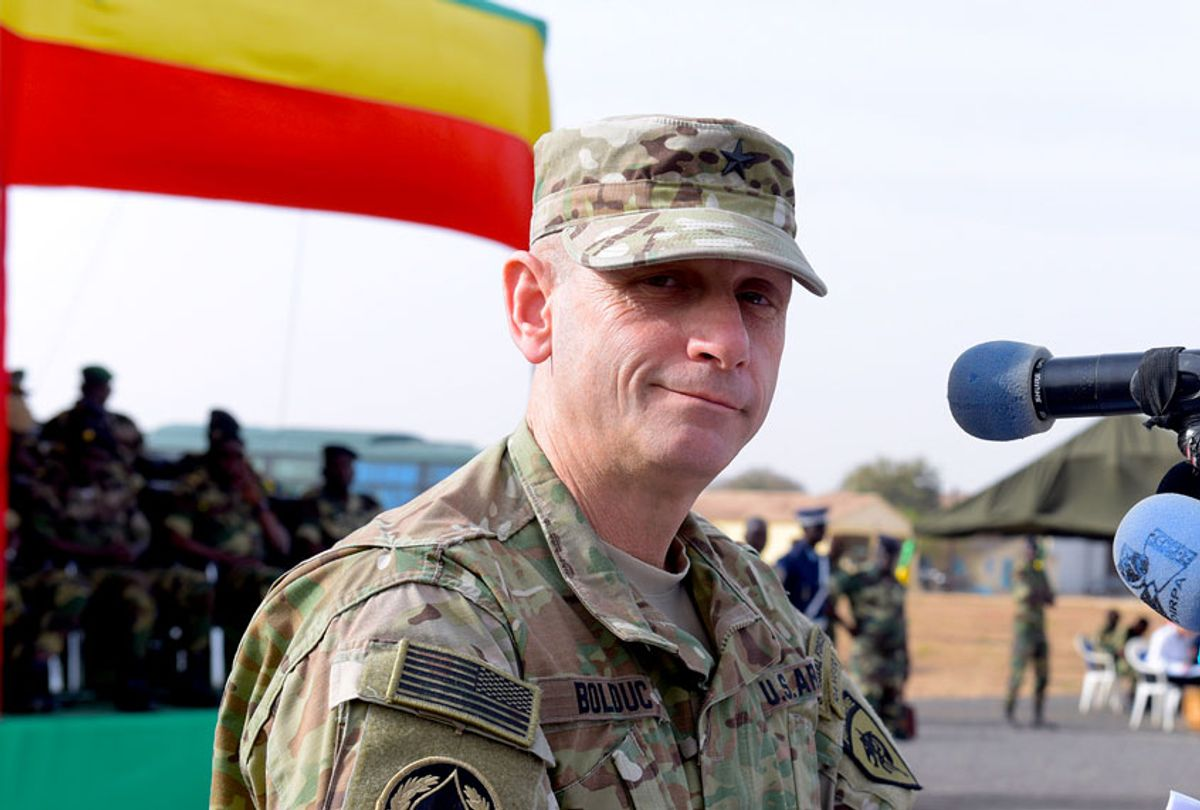Former US Army General Donald Bolduc delivers a speech during the inauguration of a military base in Thies, 70 km from Dakar, on February 8, 2016 (SEYLLOU/AFP via Getty Images)