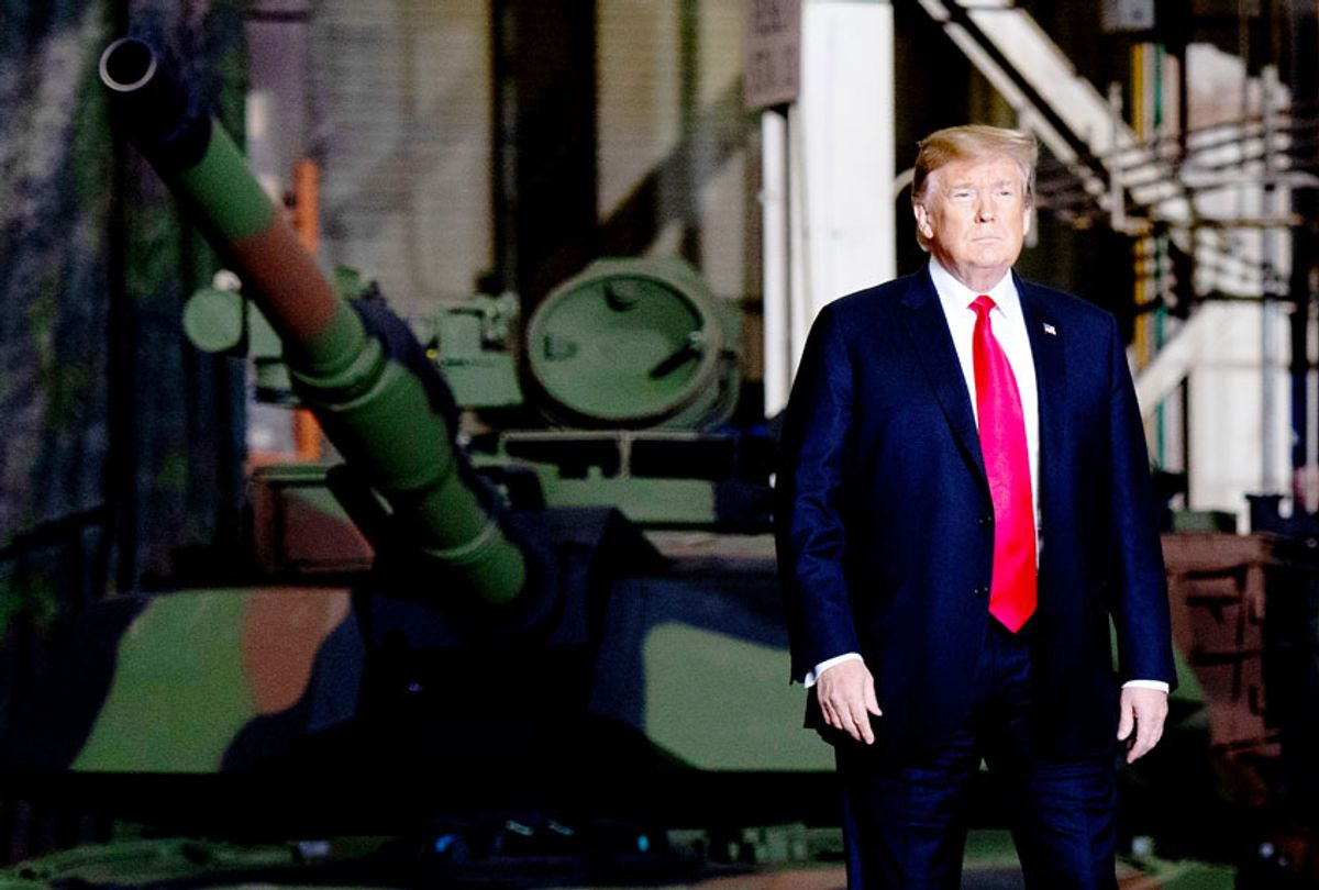 US President Donald Trump arrives to speak after touring the Lima Army Tank Plant at Joint Systems Manufacturing in Lima, Ohio, March 20, 2019. (Saul Loeb/AFP via Getty Images)