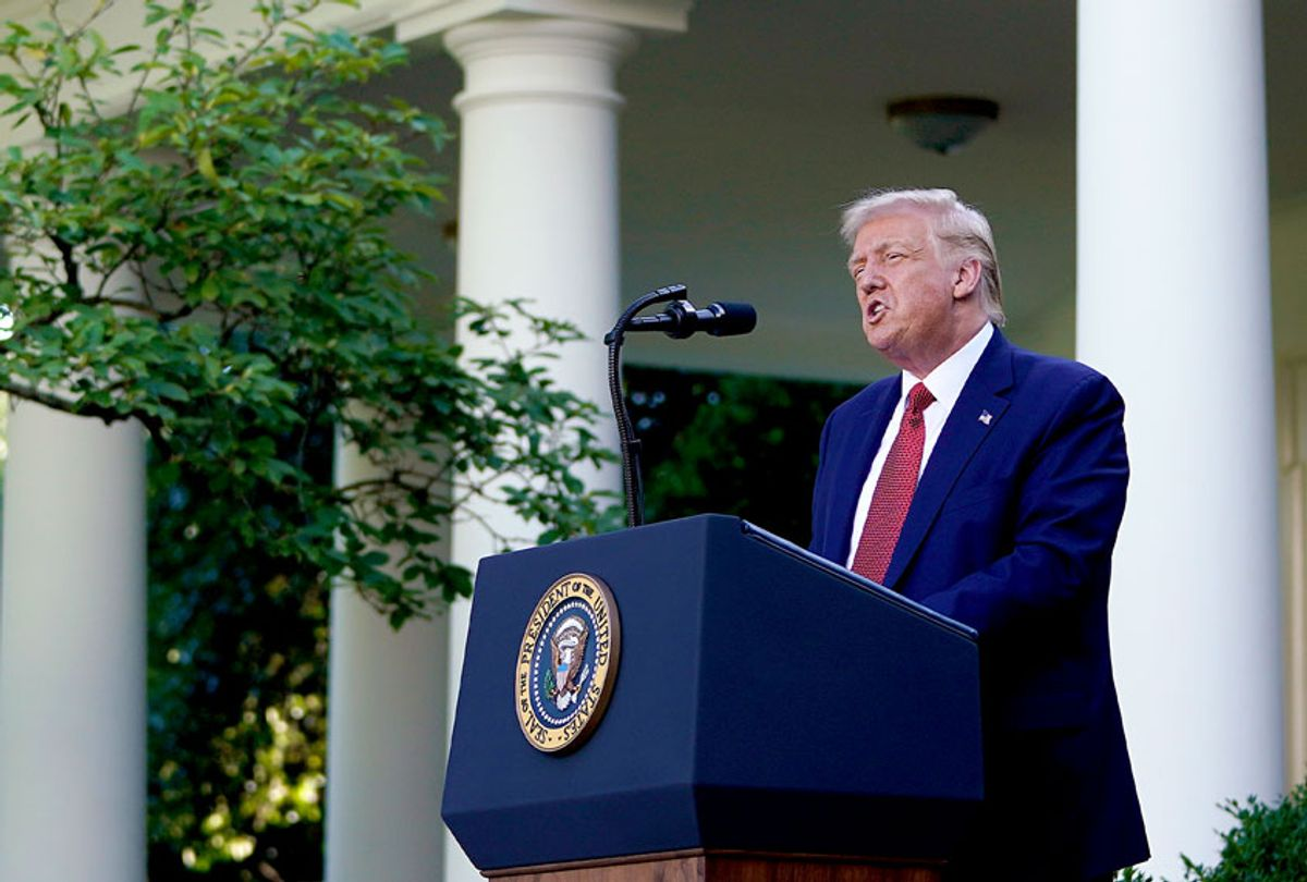 U.S. President Donald Trump speaks to the media in the Rose Garden at the White House on July 14, 2020 in Washington, DC. President Trump spoke on several topics including Democratic presidential candidate Joe Biden, the stock market and relations with China as the coronavirus continues to spread in the U.S., with nearly 3.4 million confirmed cases. (Drew Angerer/Getty Images)