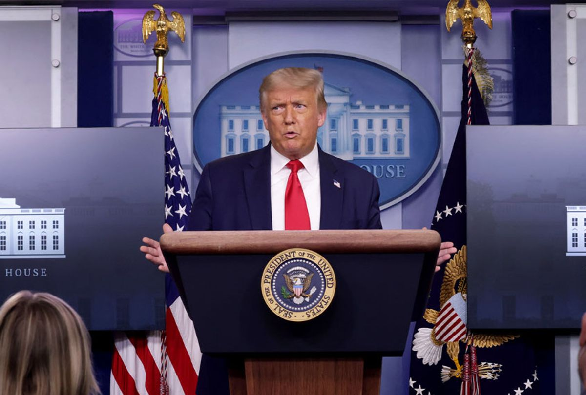 U.S. President Donald Trump speaks during a news briefing at the James Brady Press Briefing Room of the White House July 28, 2020 in Washington, DC. The president announced that Eastman Kodak will receive a loan to manufacture ingredients used in pharmaceuticals. (Alex Wong/Getty Images)