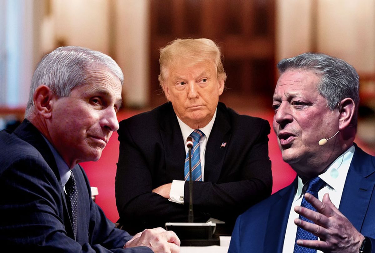 Anthony Fauci, Al Gore and Donald Trump (Getty Images/Salon)