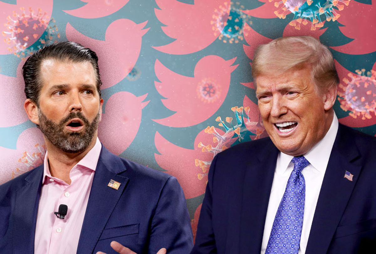 Donald Trump, Don Jr, coronavirus and Twitter (Getty Images/Twitter/Salon)