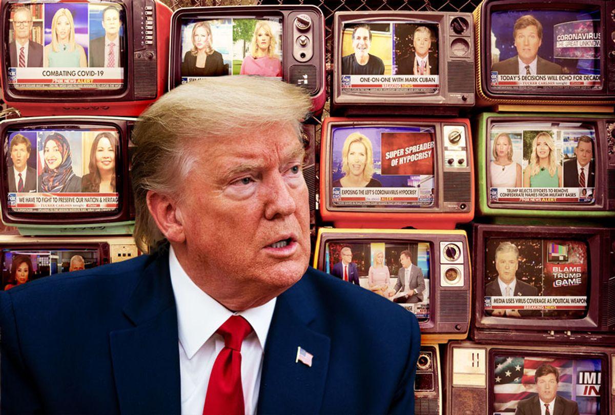 Donald Trump watching FOx News (Photo illustration by Salon/Getty Images/Fox News)