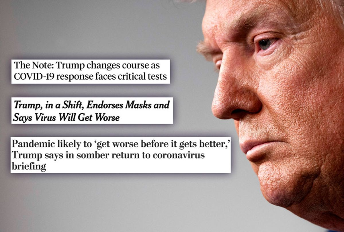 Donald Trump and various headlines (Getty Images/Washington Post/ABC/New York Times/Salon)