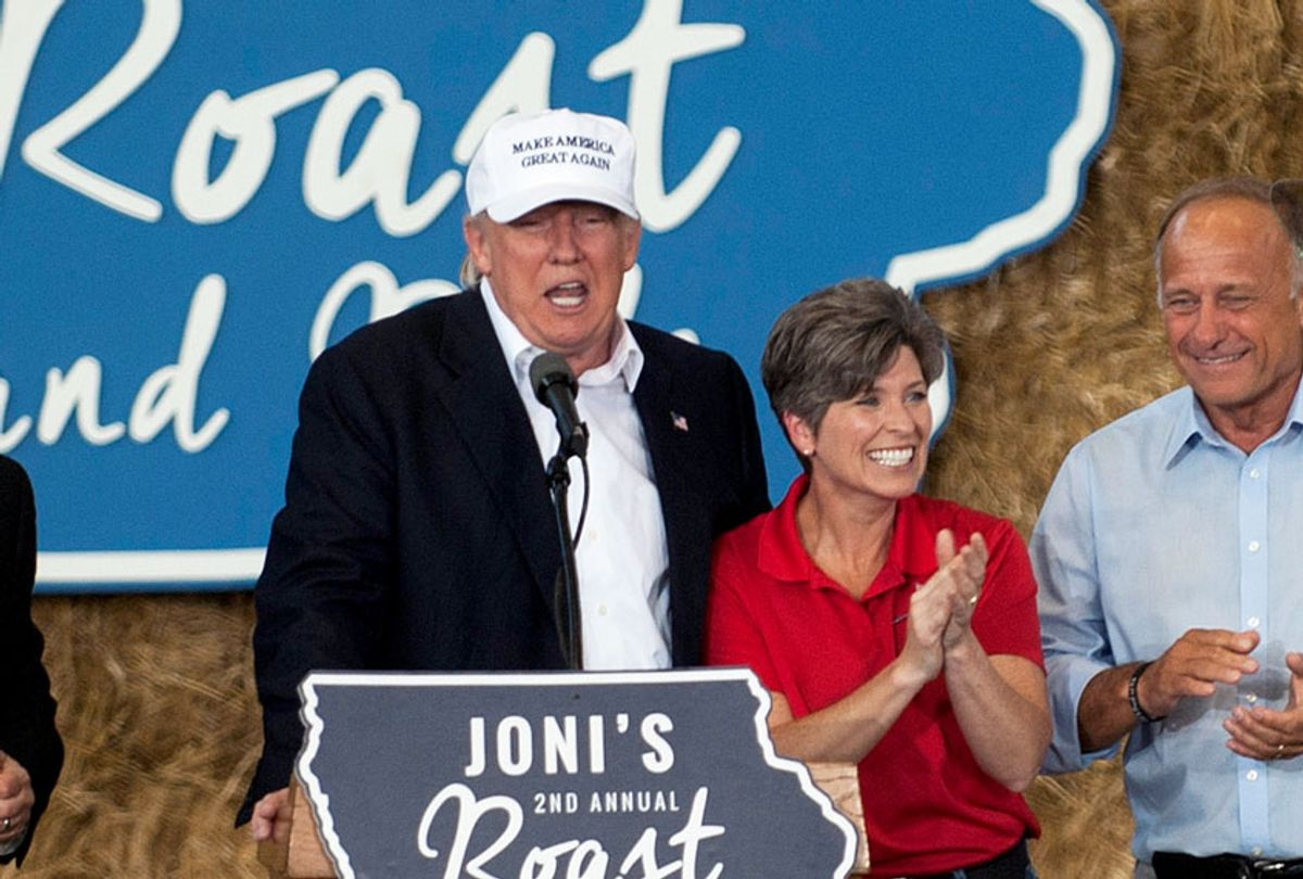 Donald Trump and Sen. Joni Ernst (R-IA) on stage at the 2nd annual Joni Ernst Roast and Ride event on August 27, 2016 in Des Moines, Iowa. Trump joined a number of Iowa Republicans speaking to a crowd of supporters. (Stephen Maturen/Getty Images)