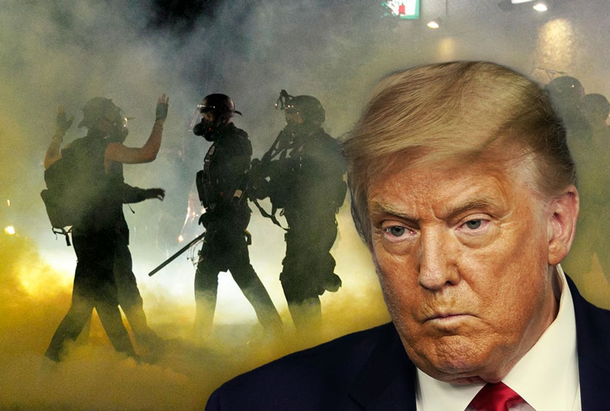 DOnald Trump | Police tear-gassing protesters in Portland, OR (Getty Images/Salon)