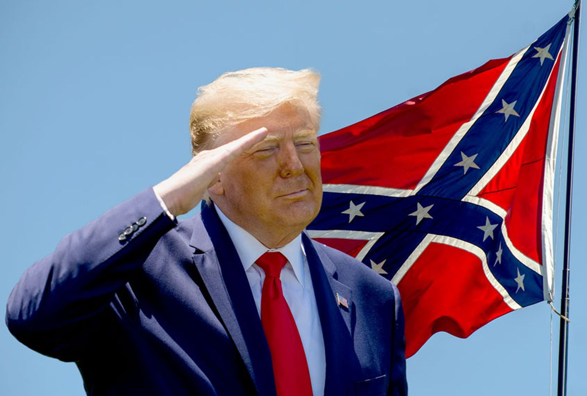 Donald Trump saluting the Confederate flag (Photo illustration by Salon/Getty Images)