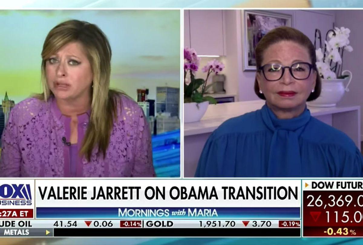 Maria Bartiromo and Valerie Jarrett on Fox Business (Fox News)