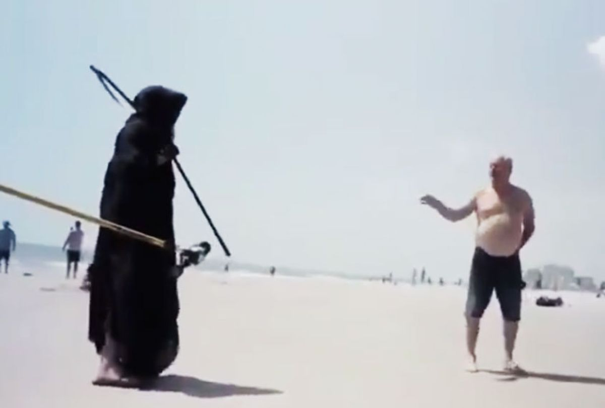The Grim Reaper chats with Florida Man on the beach. (Twitter/@RambleRaconteur)