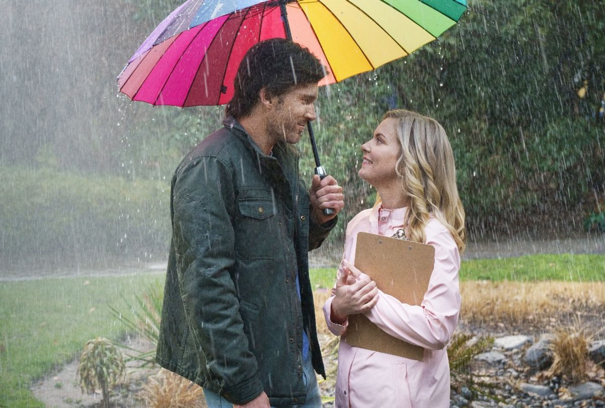 """Christopher Russell and Cindy Busby in """"Love in the Forecast"""" (Crown Media)"""