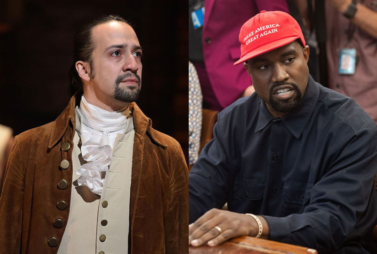 Lin Manuel Miranda as in the Broadway production of Hamilton | Rapper Kanye West speaks during his meeting with US President Donald Trump in the Oval Office of the White House in Washington, DC, on October 11, 2018 (Disney+/Getty Images/Salon)