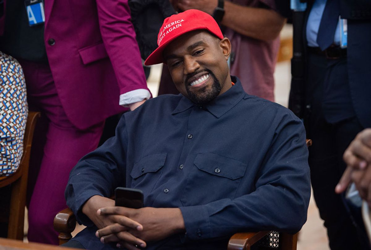 Kanye West speaks during his meeting with US President Donald Trump in the Oval Office of the White House in Washington, DC, on October 11, 2018 (SAUL LOEB/AFP via Getty Images)