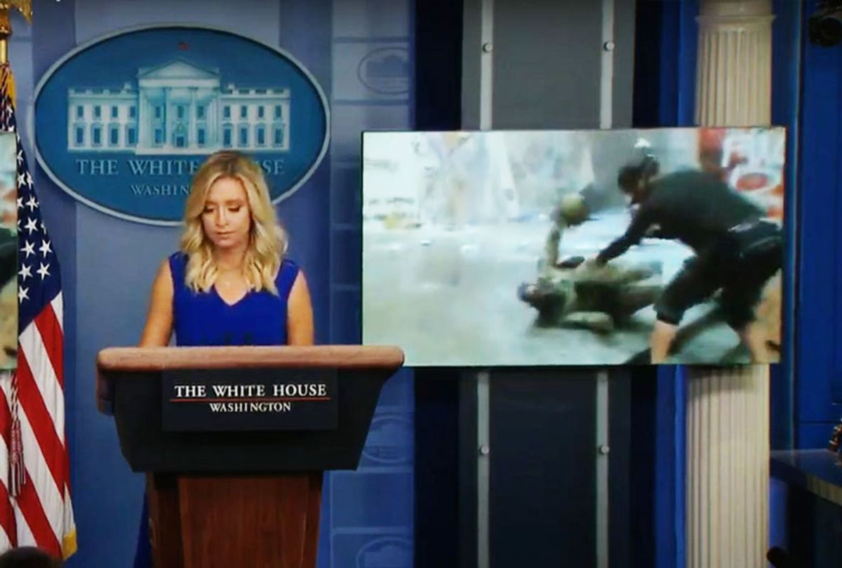 White House press secretary Kayleigh McEnany showed video of protesters clashing with police in Portland, Oregon, in her Friday briefing (Fox News)