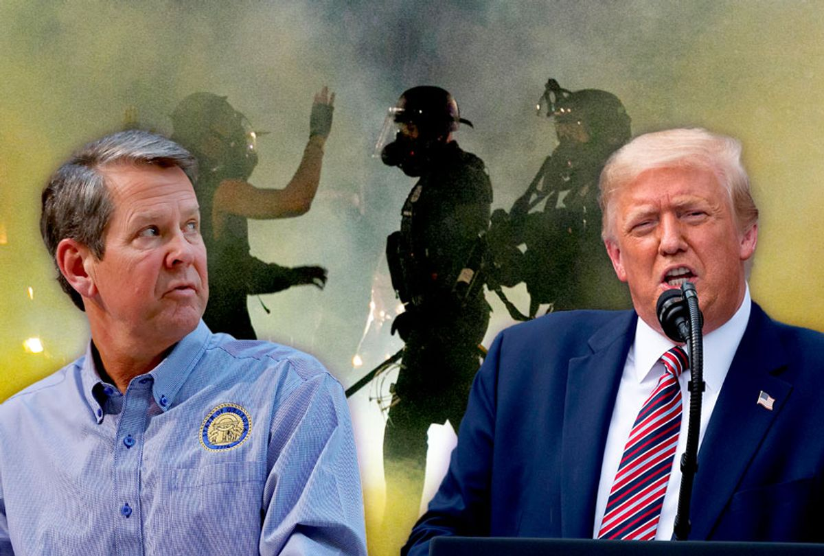 Georgia Governor Brian Kemp, US President Donald Trump and police confronting demonstrators as Black Lives Matter supporters demonstrate in Portland, Oregon  (Getty Images/Salon)