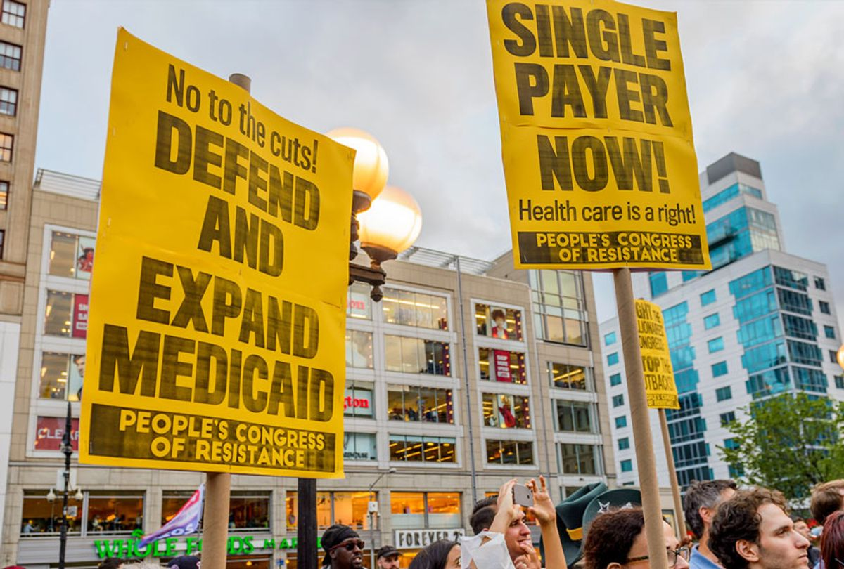 Rally to demand a universal, single-payer, improved, and expanded Medicare healthcare system and an end to for-profit healthcare. (Erik McGregor/Pacific Press/LightRocket via Getty Images)