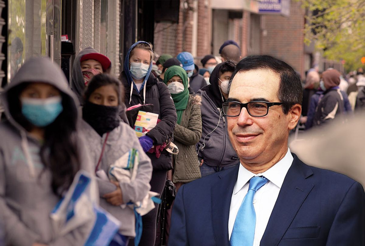 Steven Mnuchin | Unemployment line in NYC (Photo illustration by Salon/Getty Images)