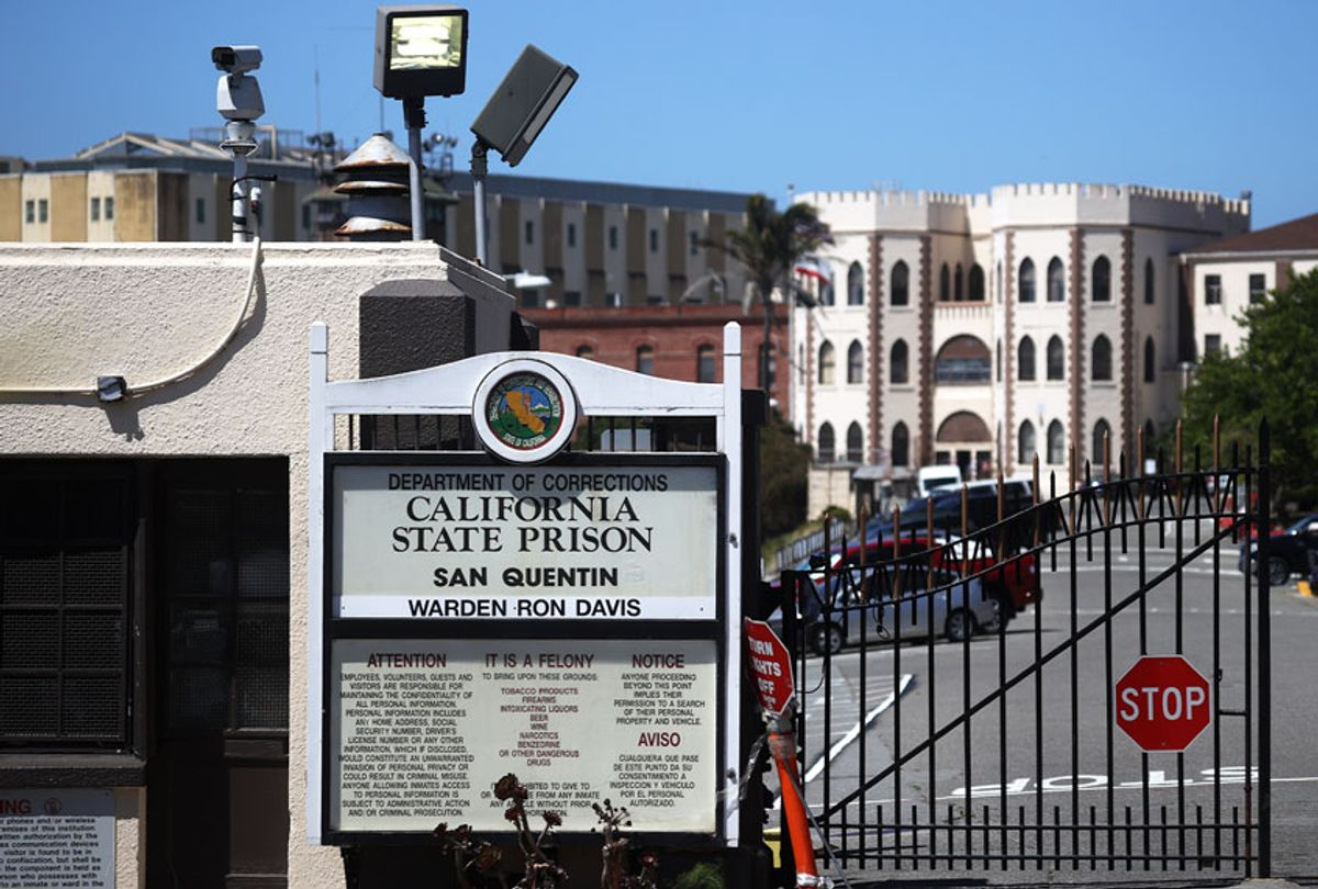 A view of San Quentin State Prison on June 29, 2020 in San Quentin, California. San Quentin State Prison is continuing to experience an outbreak of coronavirus COVID-19 cases with over 1,000 confirmed cases amongst the staff and inmate population. (Justin Sullivan/Getty Images)