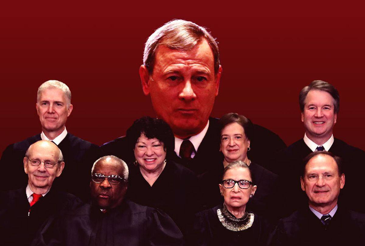 Supreme Court Justices, with Chief Justice John Roberts looming in the back (Getty Images/Salon)