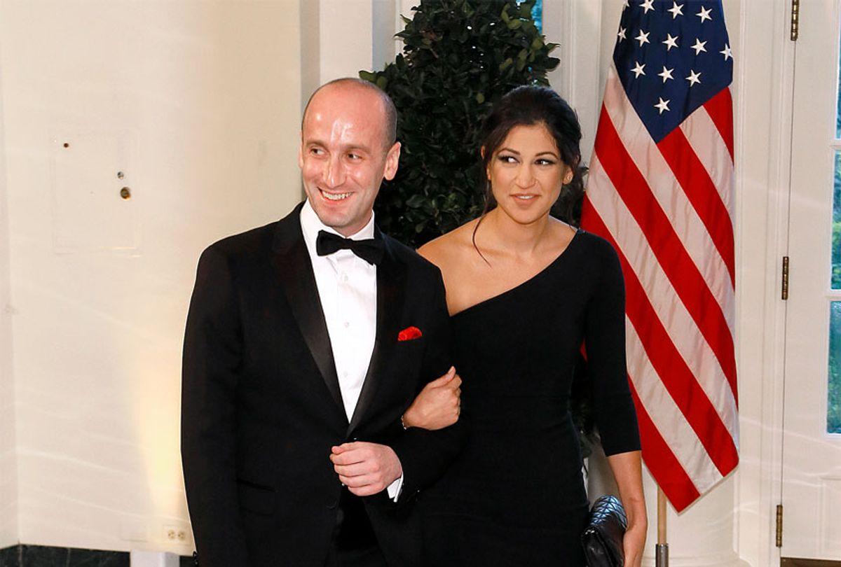 White House advisor Stephen Miller (L) and Katie Waldman arrive for the State Dinner at The White House (Paul Morigi/Getty Images)