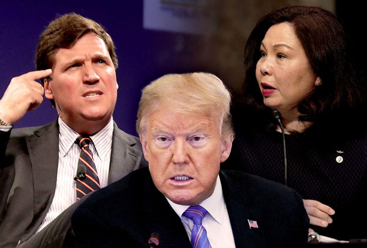 Tucker Carlson, Donald Trump and Tammy Duckworth (Getty Images/Salon)