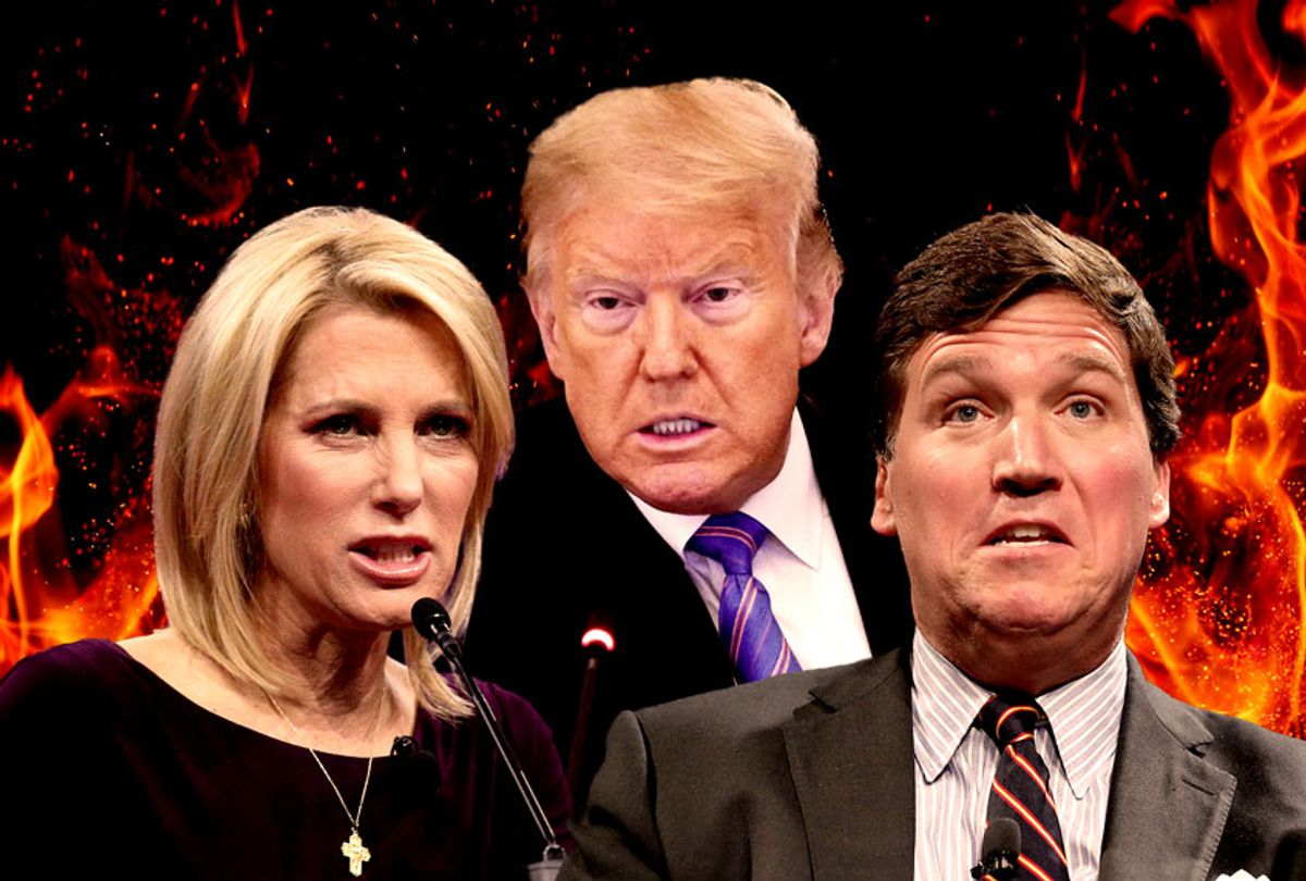 Donald Trump, Laura Ingraham and Tucker Carlson (Photo illustration by Salon/Getty Images)