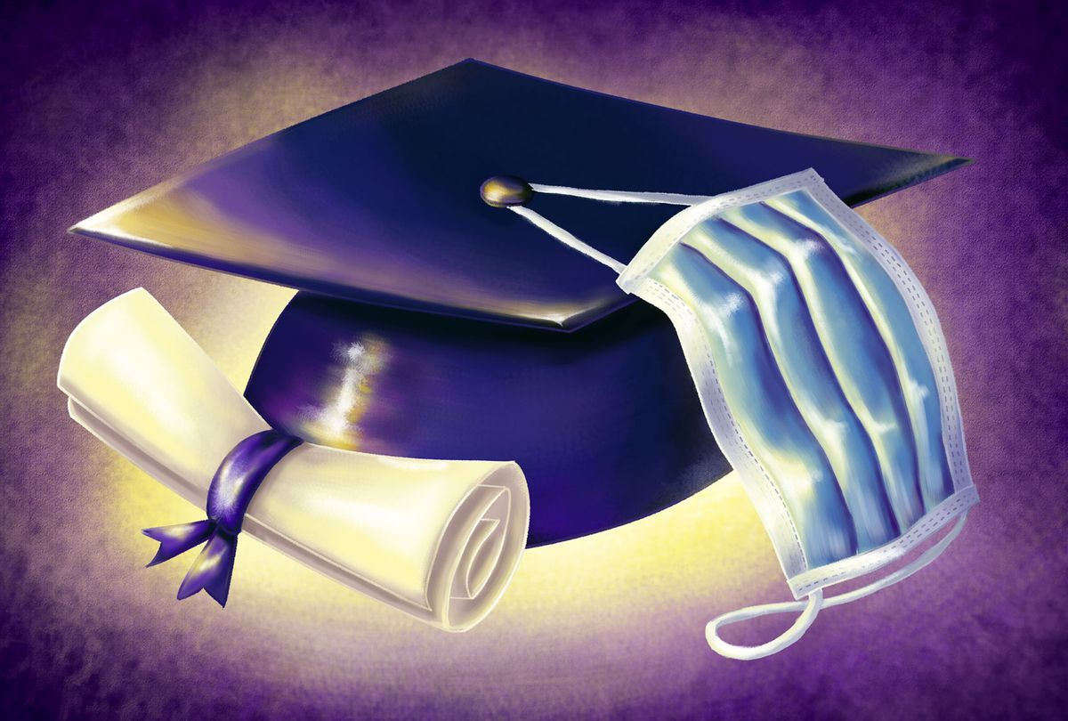 A diploma scroll and graduation cap with a medical mask hooked around the top button (Illustration by Ilana Lidagoster/Salon)