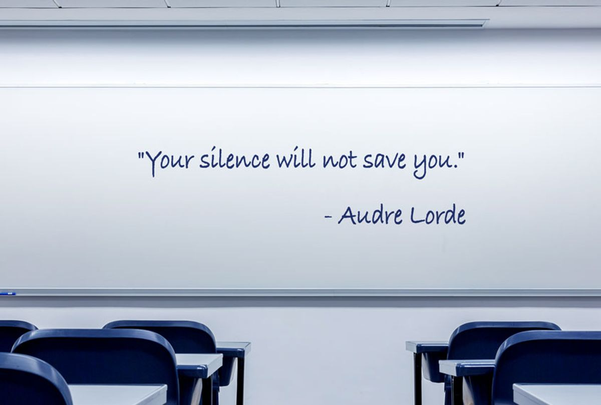 Classroom whiteboard with a quote from Audre Lorde written on it (Getty Images/Salon)