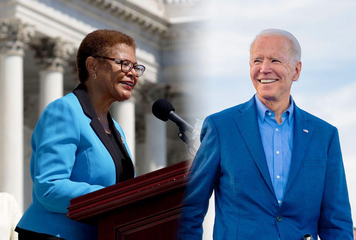 Joe Biden and Karen Bass (Getty Images/Salon)