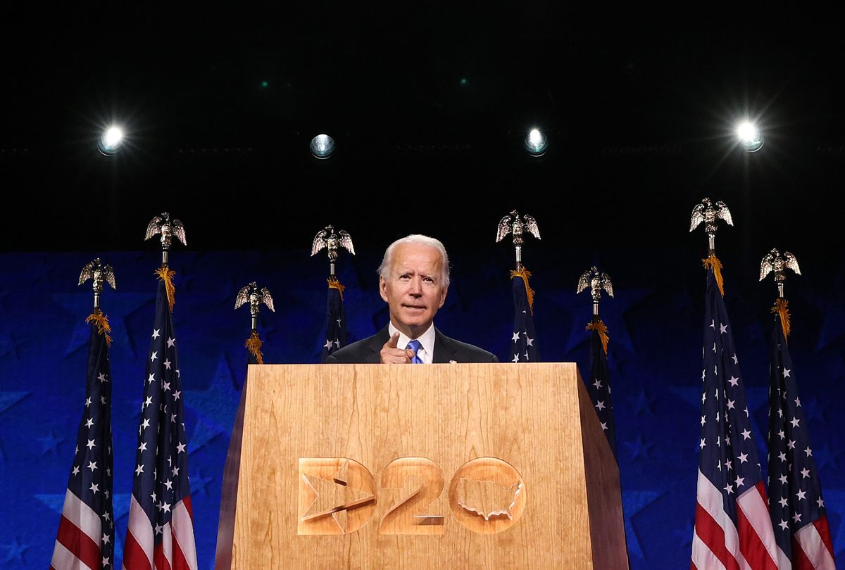 Democratic presidential nominee Joe Biden speaks on the fourth night of the Democratic National Convention from the Chase Center on August 20, 2020 in Wilmington, Delaware. (Win McNamee/Getty Images)