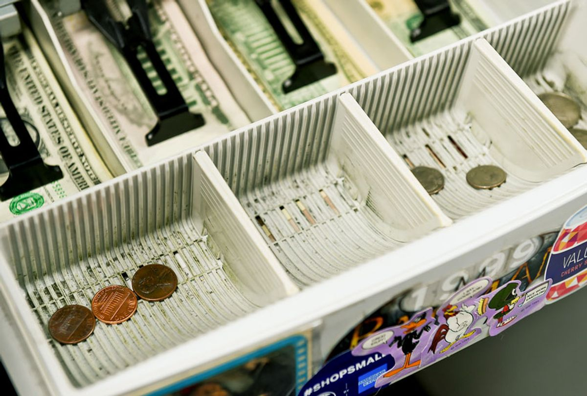 The detail photo of the change drawer of the cash register at Symbiote Collectibles in West Reading Thursday afternoon July 9, 2020. There is currently a coin shortage in the United States. (Ben Hasty/MediaNews Group/Reading Eagle via Getty Images)