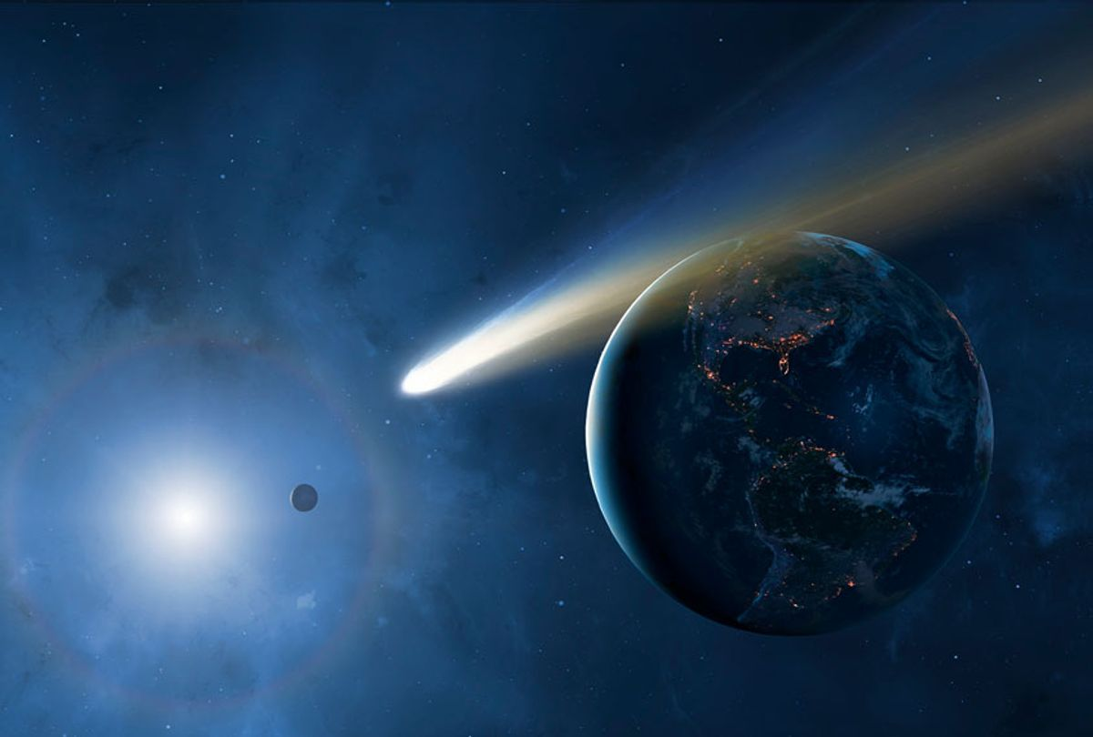Illustration of the Earth, Moon and Sun showing a passing comet (Getty Images)