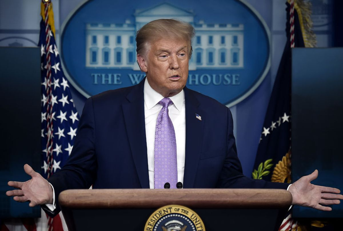 US President Donald Trump answers question during a press conference in the Brady Briefing Room of the White House in Washington, DC, on August 5, 2020. (OLIVIER DOULIERY/AFP via Getty Images)