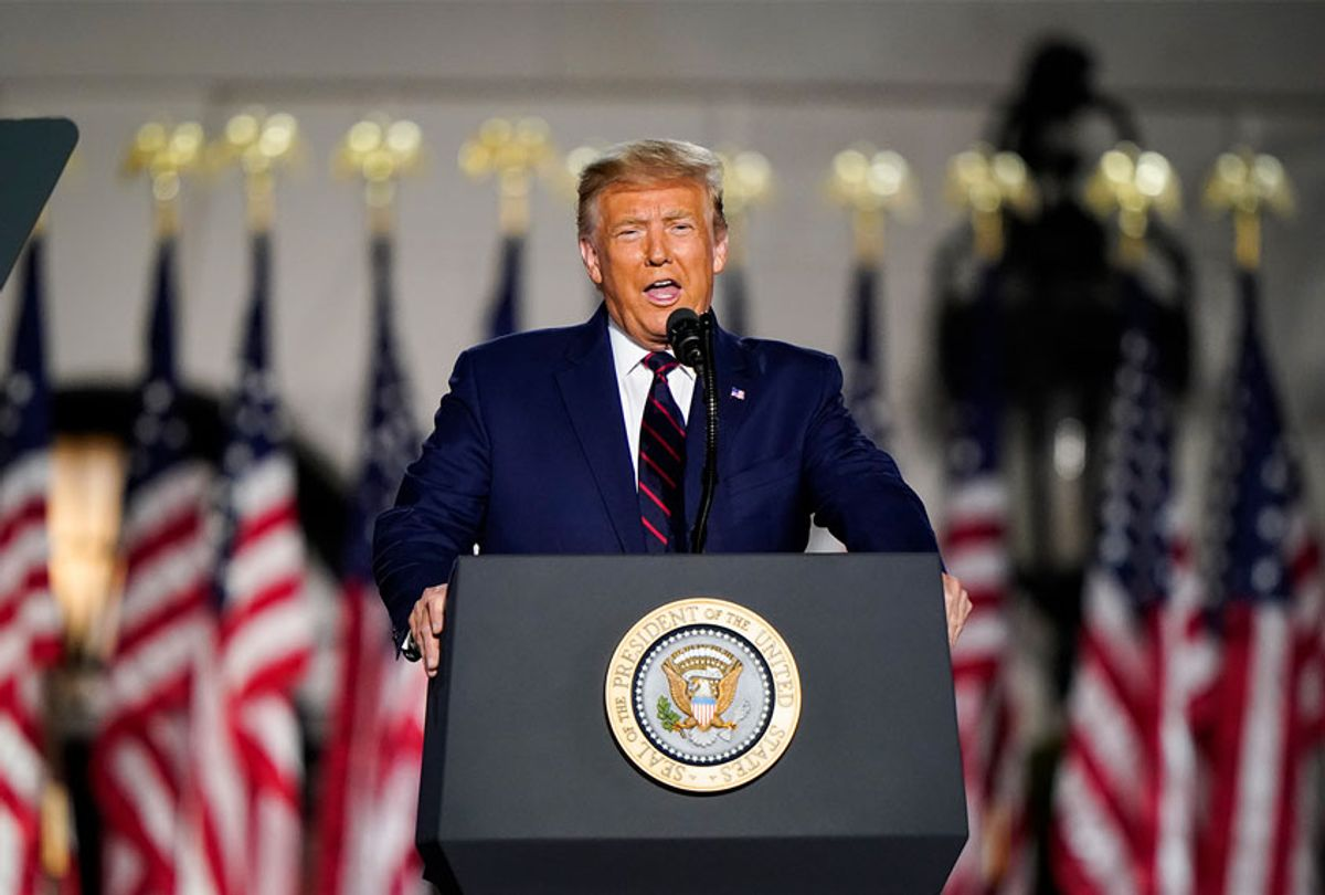 President Donald Trump speaks on the fourth and final night of the Republican National Convention with a speech delivered in front a live audience on the South Lawn of the White House on Thursday, August 27, 2020. (Jabin Botsford/The Washington Post via Getty Images)