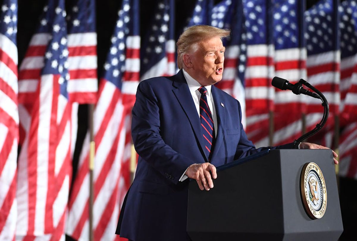 President Donald Trump speaks on the fourth and final night of the Republican National Convention with a speech delivered in front a live audience on the South Lawn of the White House. (Jonathan Newton /The Washington Post via Getty Images)