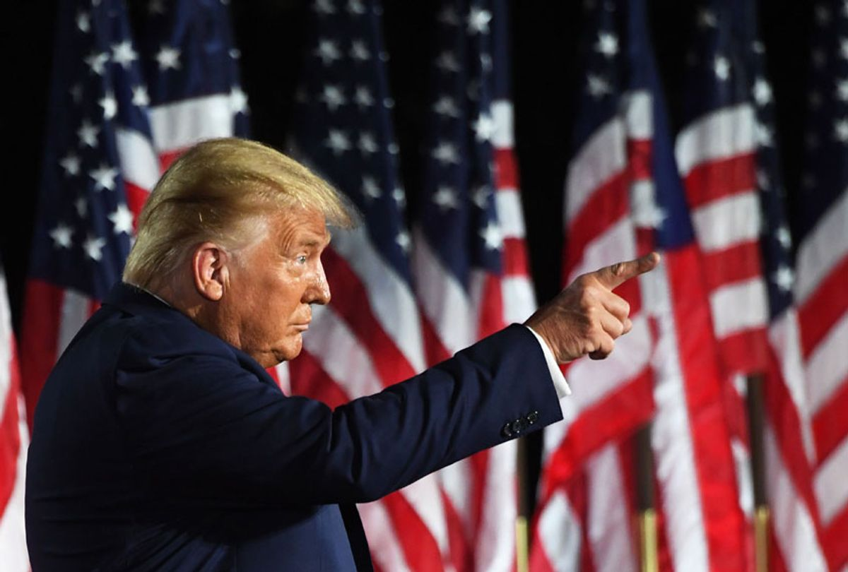 US President Donald Trump gestures at the conclusion of the the final day of the Republican National Convention from the South Lawn of the White House on August 27, 2020 in Washington, DC. (SAUL LOEB/AFP via Getty Images)