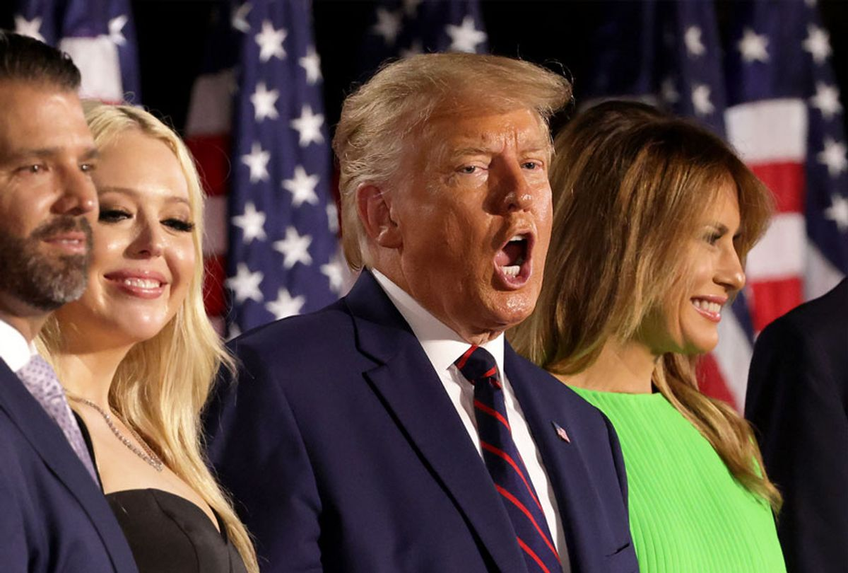 U.S. President Donald Trump (2nd R) stands with his family members after delivering his acceptance speech for the Republican presidential nomination on the South Lawn of the White House August 27, 2020 in Washington, DC. Trump gave the speech in front of 1500 invited guests. (Alex Wong/Getty Images)
